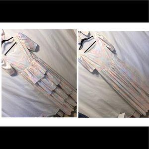 Basque waist peplum sleeve Dress